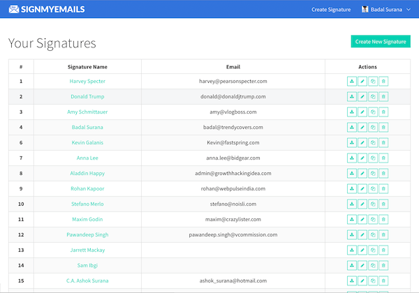 HTML email signature Manager dashboard