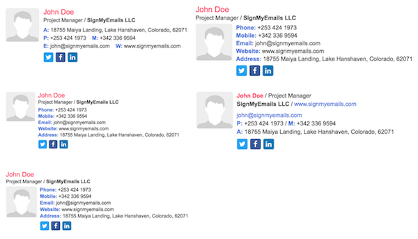 HTML email signature templates